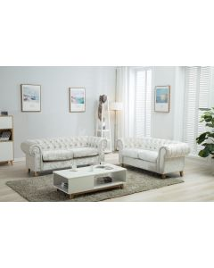 Canterbury artic silver crushed velvet chesterfield sofa