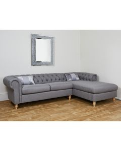 Chesterfield Grey Linen Corner Sofa with RH Chaise