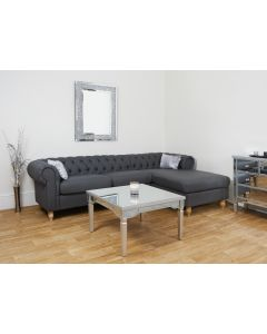 Grey Faux Leather PU Corner Chesterfield with Wooden Legs