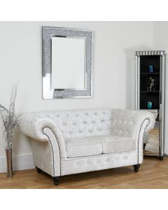 Chesterfield 3 seater sofa in Arctic Silver Crushed Velvet