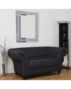 2 Seater Dark Grey Chesterfield Sofa