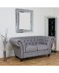 Grey Linen 2 Seater Chesterfield Sofa
