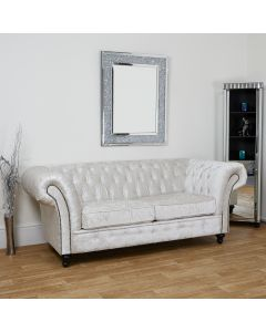 Arctic Silver three seater Chesterfield sofa