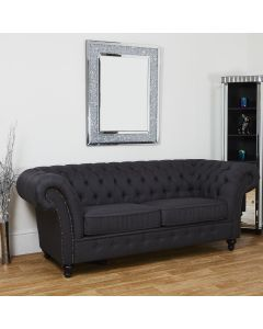 Dark Grey Linen Modern 3 Seater Chesterfield Couch