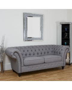 3 Seater Grey Linen Chesterfield Sofa