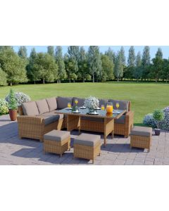 9 Seater Rattan Corner Garden Sofa & Dining Table Set in Light Brown With Dark Cushions
