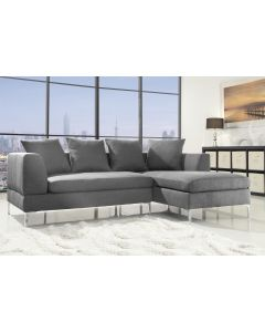 Modern Corner Sofa in Grey Linen