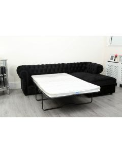 Empire Black Crushed Velvet Chesterfield Right Hand Corner Sofa Bed