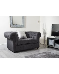 Chesterfield Charcoal Grey Linen 2 Seater Sofa