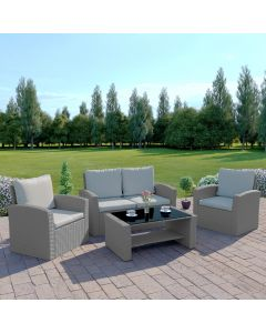4 Piece Algarve Rattan Garden Patio Set in Solid Light Grey with Light Cushions
