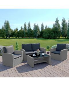 4 Piece Algarve Rattan Garden Patio Set in Solid Light Grey with Dark Cushions