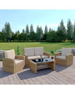 4 Piece Algarve Rattan Sofa Set in Light Mixed Brown