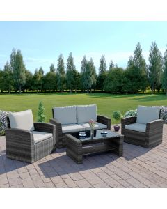 4 Piece Algarve Rattan Sofa Set in Dark Mixed Grey with Light Cushions