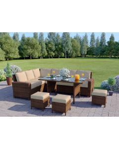 9 Seater Rattan Corner Garden Sofa & Dining Table Set in Brown With Light Cushions