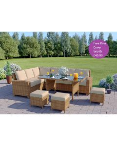 9 Seater Rattan Corner Garden Sofa & Dining Table Set in Light Brown With Light Cushions