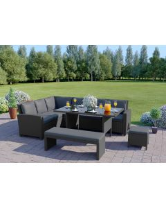 10 Seater Rattan Corner Sofa Set with Bench in Black with Dark Cushions