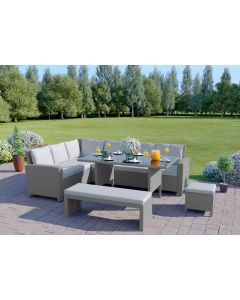 10 Seater Rattan Corner Sofa Set with Bench in Light Solid Grey with Light Cushions