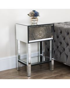 Gold Mirrored 1 Drawer Side Table