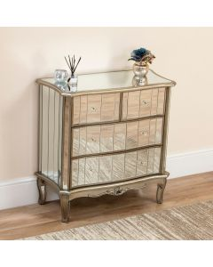 Sophia Shabby Chic Mirrored 4 Drawer Chest