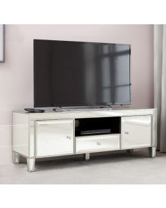 Mirrored TV Stand 2 Cupboards 1 Drawer