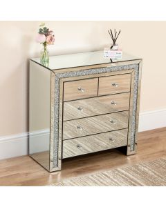 Mirrored Crushed Diamond 5 Drawer Sideboard