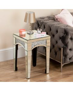 Mirrored Crushed Diamond Curved Edge Side Table
