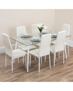 6 SEATER GLASS DINING TABLE SET WITH WHITE PU LEATHER CHAIRS