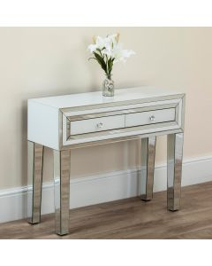 White Glass 2 Drawer Console Table