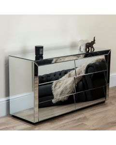 Mirrored Wide Chest of 6 Angled Drawers