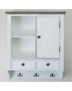 Country Wall Cabinet with Key Holder White