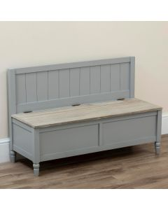 Country Style Pew Bench with Storage Grey