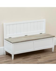 Country Style Pew Bench with Storage White