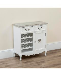 Country Kitchen Cabinet with Wine Rack holder White