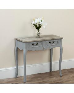 Country Console Table White and Pine