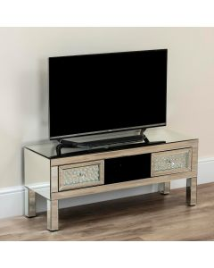 Floating Crystal 2 Drawer Mirrored Tv Stand