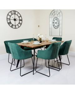 Wooden Dining Table with Iron Legs and Emerald Green Velvet Chairs