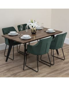 Aria Wooden Dining Table With 4 Emerald Green Velvet Dining Chairs