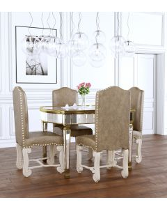4 seater mirror dining table with brushed gold