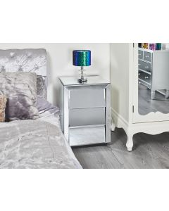 Mirrored Angled Bedside Table
