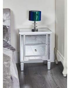 Mirrored Silver Bedside Table