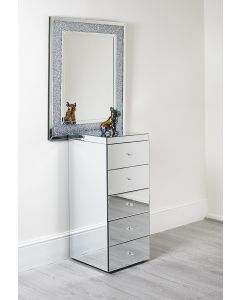 Venetian Mirrored Tall Boy Drawer Storage