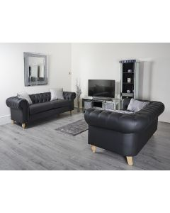 Black PU 3 + 2 Leather Sofa Set