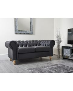 Chesterfield Black PU Leather 3 Seater Sofa