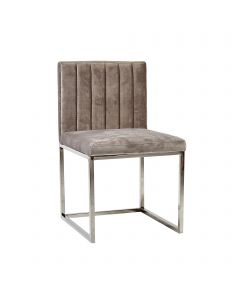 Soft Grey Velvet Brushed Steel Silver Leg Dining/ Dressing Chair