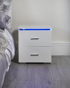 White LED colour changing bedside table night light nightstand