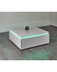 White LED storage coffee table
