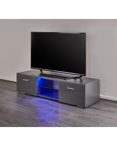 Grey LED TV stand with two integrated cupboards