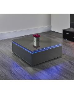 Grey LED coffee table with storage