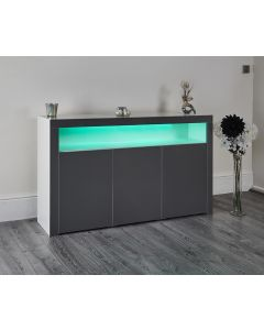 LED colour changing side board storage cupboard lounge dining room