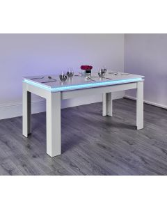 White colour changing LED dining room table